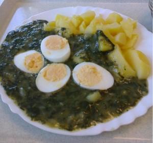 špenat zemiaky vajcia